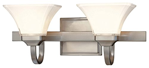 Minka Lavery Wall Light Fixtures 6812-84 Agilis Reversible Glass Bath Vanity Lighting, 2 Light, 200 Watts, Brushed ()