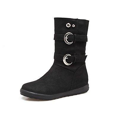 US7 otoño casual Zapatos RTRY puntera tacón 5 Cuero EU38 botas vestimenta de hebilla de polipiel moda para 5 Calf Mid botas invierno de redonda Nubuck remache botas CN38 mujer UK5 planas 8S4Sqw