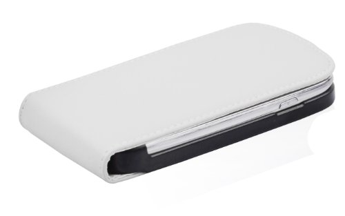 Cadorabo - Funda Flip Style para Samsung Galaxy S3 MINI (I8190) de Cuero Sintético Liso - Etui Case Cover Carcasa Caja Protección en AZUL-BRILLANTE BLANCO-POLAR