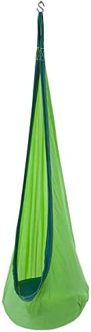 HugglePod Lite Indoor Outdoor Hanging Hammock Chair, Durable Lightweight Nylon with Reinforced Hanging Strap, Max Weight 175 LBS, 64 H x 24 W – Green