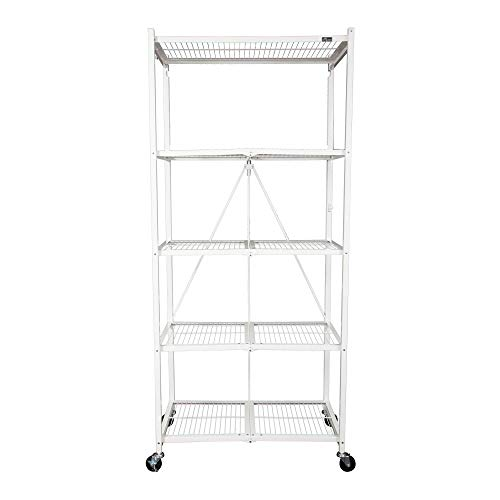Origami 5-Shelf Foldable Storage Shelves for Garage Kitchen Home Closet, Metal Wire, Collapsible Organizer Rack, Holds up to 1000 pounds, Powder-Coated Steel, Heavy Duty   White