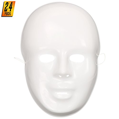 Skeleteen White Full Face Masks - Create Your Own Mask for Party Activity Or Halloween Masquerade - 24 Pack