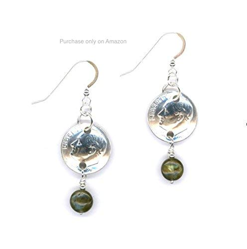 (61st Birthday 1958 Dimes with Labradorite Beads and Silver Links Earrings 61st Anniversary Gift Coin)