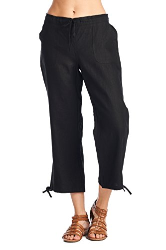6541fe218c8761 Galleon - High Style Women's Casual 100% Linen Capri Pants With Drawstring  And Adjustable Leg Tie (1411, SolidBlack, 16)