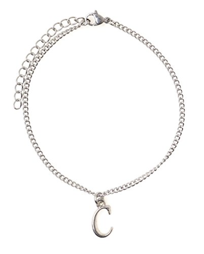 """It's All About...You! 7.5"""" - 9.5"""" Stainless Steel Ankle Bracelet with Alloy Initial Letter C 49C"""