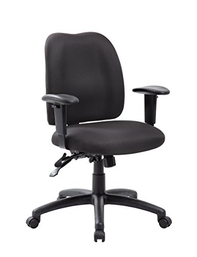 Chair Fabric Task Crepe - Boss Office Products B4006-BK Multi-Function Fabric Task Chair in Black