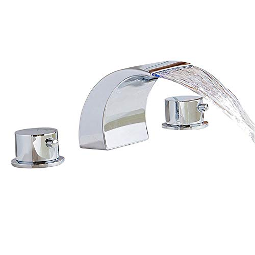 Senlesen Deck Mount 2 Handles Led Waterfall Contemporary Widespread Bathroom Sink Faucet Led Water Flow Powered Temperature Sensitive Shower Faucets Chrome Finish ()