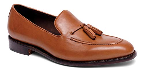 Anthony Veer Men's Kennedy Tassel Loafer Leather Shoe with Side Lacing in Goodyear Welted Construction (10.5 D(M) US, Tan Full Grain Calfskin Leather) ()