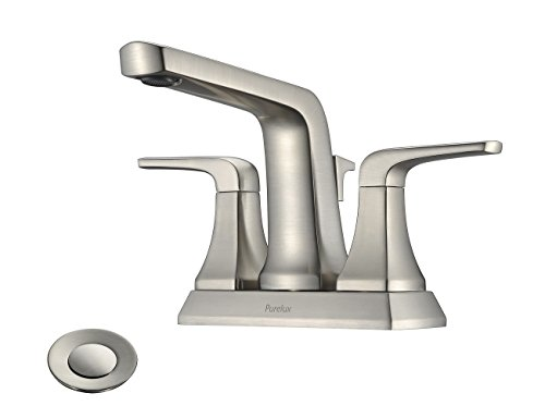 "(4 inch Centerset Bathroom Faucet with Drain Assembly, Brushed Nickel Levra Two Handle 4"" Spread Fit for 3 Hole Sink, by)"