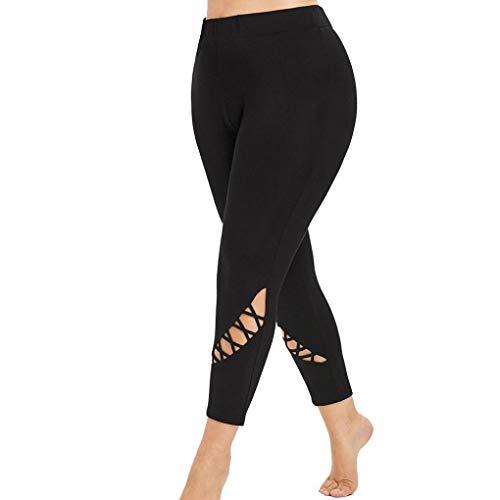 Women Plus Size Yoga Leggings Solid Criss-Cross Hollow Out Sport Elastic (Solid Elastic Women Leggings)