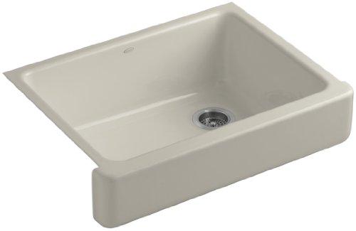 Kohler K-6486-G9 Whitehaven Self-Trimming Apron Front Single Basin Kitchen Sink with Short Apron, Sandbar (Kitchen G9 Sink Sandbar)