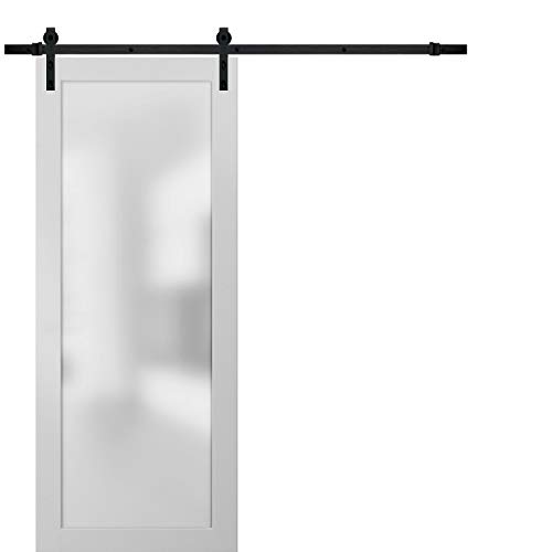 Sliding Lite Barn Frosted Glass Door 36 x 80 | Planum 2102 White Silk | 6.6FT Rail Hangers Stops Hardware Set | Modern Solid Core Interior Door Eco-Veneer
