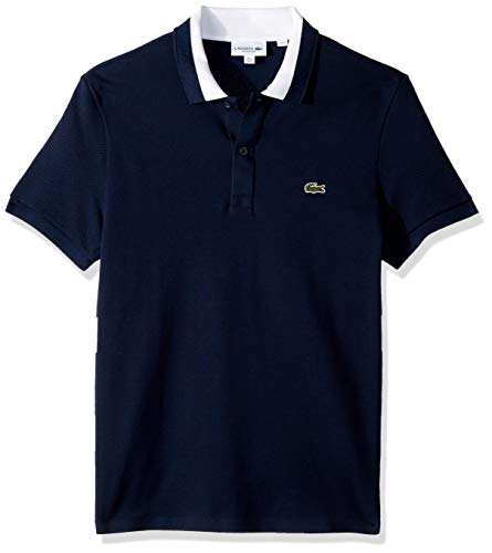 (Lacoste Men's S/S 3 PLY Textured Pique Regualr FIT Polo, Navy Blue/White 4X-Large)