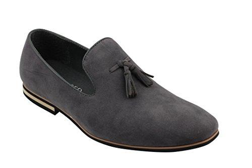 Xposed–piel sintética Slip On Suede Loafers Smart Casual zapatos de conducción borla diseño tamaño 6A 12 gris