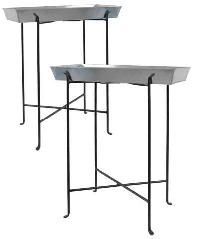 BestNest Set of 2 Achla Antiqued Trays with Tall Folding Stands ()