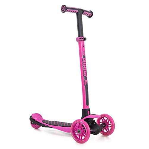 Yvolution Y Glider XL | 3 Wheeled Scooter for Boys and Girls Age 5 -10 Years | Extra-Wide Deck Pink