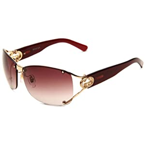 Gucci Women's 2820/F/S Wrap Sunglasses,Shiny Gold Frame/Brown & Violet Gradient Lens,One Size