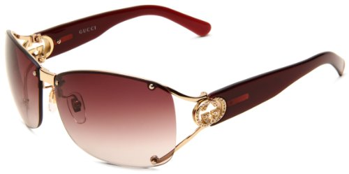 Gucci Women's 2820/F/S Wrap Sunglasses,Shiny Gold Frame/Brown & Violet Gradient Lens,One - Gucci Case Sunglasses