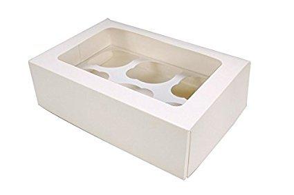 10 cajas para cupcakes con ventana y agujeros (4, 6, 8, 10