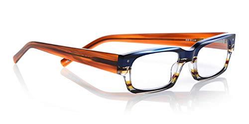 (eyebobs Peckerhead Unisex Premium Reading Glasses, Blue Multi Stripe and Light Brown, 2.00 Magnification)
