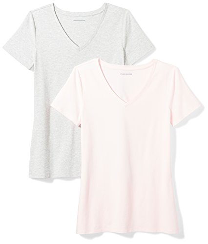 Amazon Essentials Women's 2-Pack Classic-Fit Short-Sleeve V-Neck T-Shirt, Light Pink/Light Grey Heather, Medium