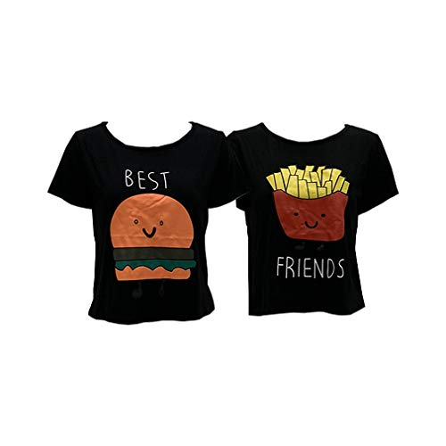 MOLFROA 2-Pack Women's Casual Cute Cartoon Best Friend Printed Crop Tops Funny Tops Tees (Best (S)+Friend (S), Black)