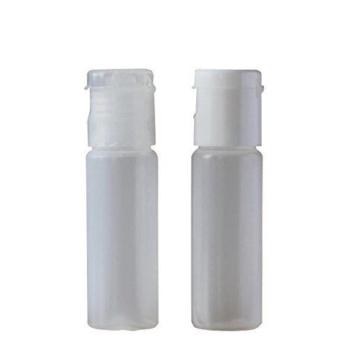 10pcs/10(g) 0.35(OZ) Plastic Empty Bottles With Flip Cap Natural Boston Round Bottles with Printed Liners and Snap Caps - BPA-free Sample Bottle Cosmetic Packaging Bottle Best Xmas Gift (Transparent)