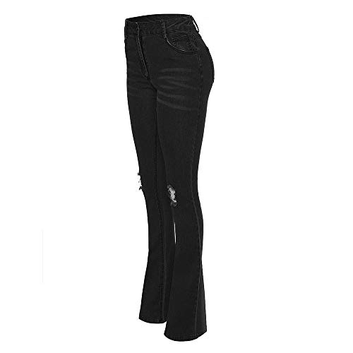 Npradla Slim Tendencia Negro Casual Denim Elegante Cintura Media Vaqueros Mujer Estiramiento Fresco Flare Moda Jeans Hole rvxESrfqAw