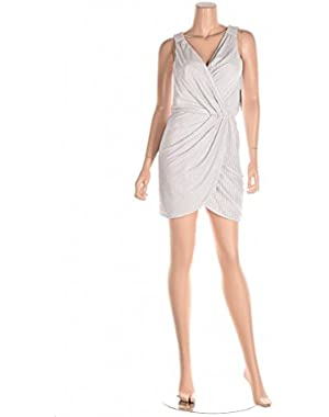 Guess Beaded Faux-Metallic Wrap White Dress