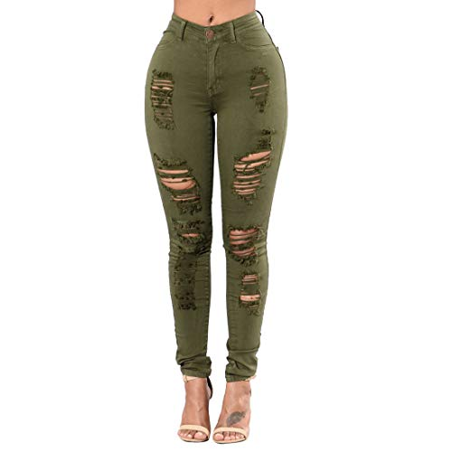 Taille Green Long Jeans XL Haute Taille Black dchir Haute MALLTY Skinny Stretch Femme Size Color Jean Distressed qA1waw8Xn