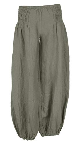 Side Khaki TEXTURE Trouser Ladies Womens Italian Harem Pants Waist Linen Elasticated Lagenlook XgqaxX