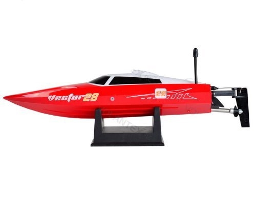 Vector28 2.4Ghz Radio Remote Control Micro High Speed RC Racing Boat Speed Boat RTR (Red) by Midea Tech