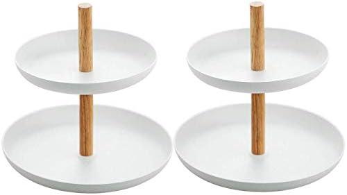 Schmuck Organizer Tray,Nordischen Stil Schmuck Kosmetik Display Boxen,Ablageschale Handtuch Kosmetik Obst Kuchenplatte mit 2 abgestuften Ablagen