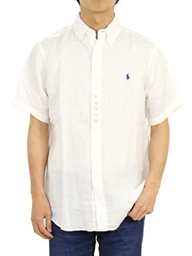 Ralph Lauren Men Short Sleeve Button-Down Linen Shirt (S, White)
