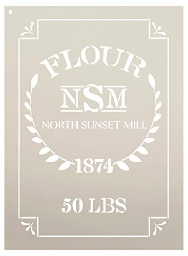 """Feed Sack Art Stencil by StudioR12 - North Sunset Mill Flour 