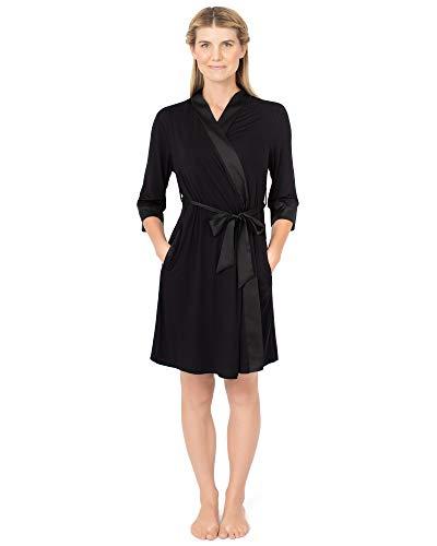 Kindred Bravely Emmaline Maternity & Nursing Robe Hospital Bag/Delivery Essential (Black, Small/Medium)