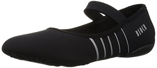 (Bloch Women's Contour Microfiber Front-Sole Pilates/Yoga/Barre Studio Athletic Shoe Dance, Black/Silver, 6 Medium)