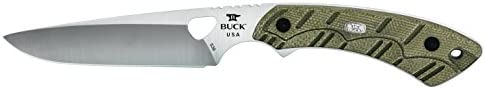 Buck Knives 539 Open Season Small Game Pro Fixed Blade Knife with Sheath, 4-1 4 S35VN Stainless Steel Blade, OD Green Micarta Handle