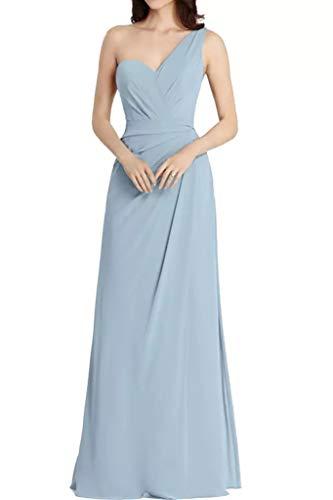 Schulter Hell Braut Lang Marie La Linie Brautjungfernkleider Ein Blau Abendkleider Chiffon A Partykleider Hell Einfach Blau 5YfSSxnq6p