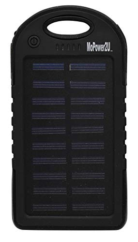 MoPower2U Solar Power Bank 5000 mAh - Slim Portable Cellphone Battery Charger - Rugged Case for Travel and Outdoor Use - iOS Cable Included