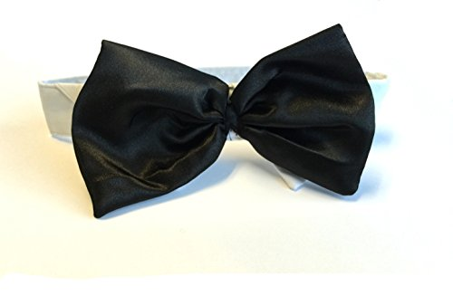 Satin Bow Tie Dog Wedding Collar (XX-Large, Black) (Dog Graduation Costume)