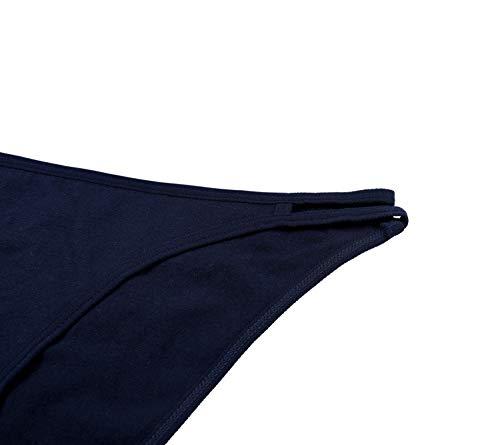 68021b8dfc7 Sociala Womens String Bikini Underwear Low Rise Cotton Panties Pack of 4  Medium