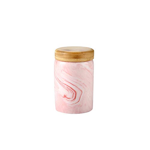 Danmu 1Pc of Lead Free Ceramic Marble Pattern Candy Dish with Bamboo Airtight Lids Candy Cookie Jar Storage Jar Jewelry Box Buffet Jar Biscuit Coffee Oatmeal Tea Sugar Container (400ML, Pink) (Sugar Cookie Ceramic Jar Skull)