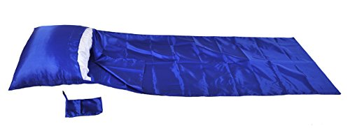 Blue Artificial Silk Single Sleepsack Sleeping Bag Liner 210x90cm 210 Single