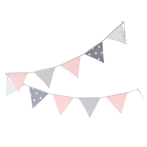 100% Cotton Fabric Bunting Flag Garland Pennant Banner by ULLENBOOM | Star/Checkered | Baby Shower/Party/Nursery | 11 Ft - Girls - Handmade Bunting Baby