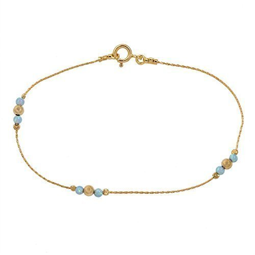 Gold Opal Bracelet (Ankle bracelet Jewelry blue opal stone gold filed chain Beach anklet Length 8.5