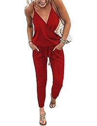 33e84fd218f4 Women s V Neck Spaghetti Strap Drawstring Waisted Long Pants Jumpsuit  Rompers