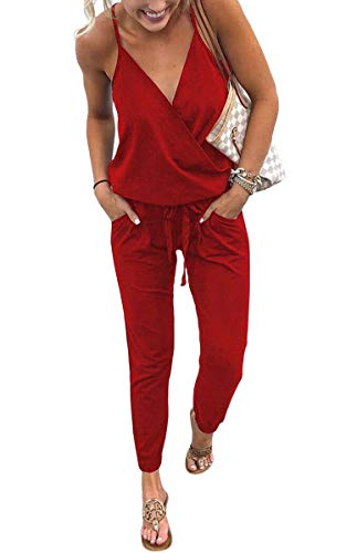 ECOWISH Women's V Neck Spaghetti Strap Drawstring Waisted Long Pants Jumpsuit Rompers Red M