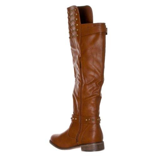 Breckelles Donna-23 Stivali Da Equitazione Fibbia Con Borchie Marrone Chiaro