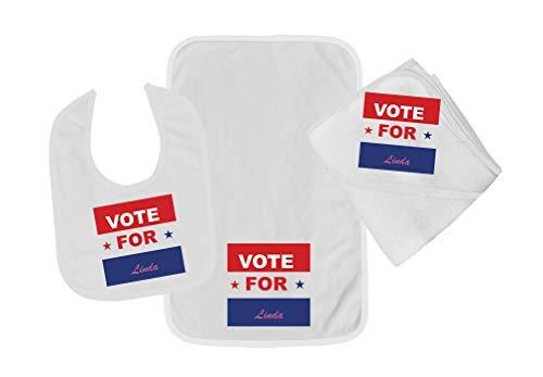Personalized Custom Political Vote for Cotton Boys-Girls Baby Bib-Burb-Towel Set - White, One Size